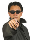 man in black pointing at you